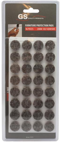 Anti-krasvilt 96 stuks Ø20mm grijs